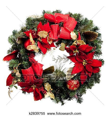 stock bild adventskranz mit rot und gold auf a wei er hintergrund k2839755 suche. Black Bedroom Furniture Sets. Home Design Ideas