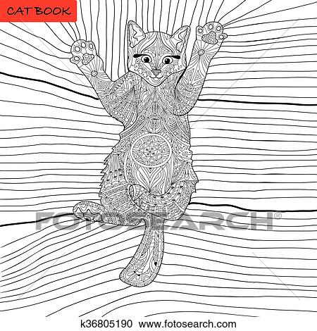 Clipart - libro colorear, para, adultos, -, zentangle, gato, libro ...