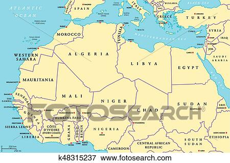 Clip Art of North Africa countries political map k48315237 - Search ...