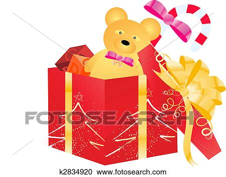 Clipart Of Open Gift Box With Children Toys K2834920