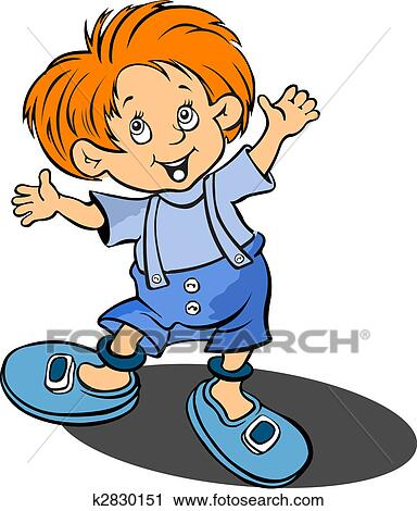 Red Haired Funny Little Boy Vector Illustration