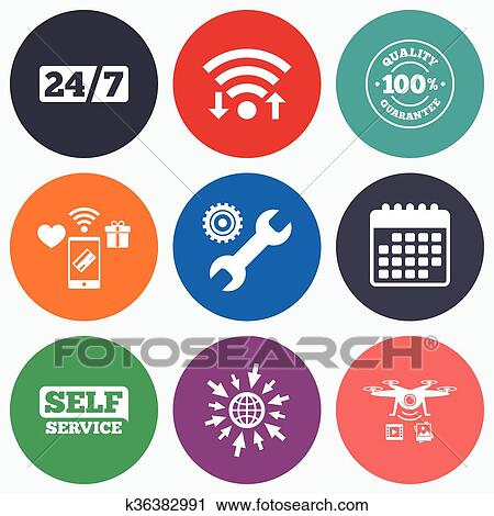 Clipart Of Repair Fix Tool Icons Customer Service Signs K36382991