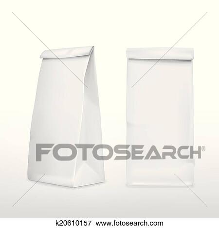 clip art of vector 3d blank paper bag k20610157 search clipart