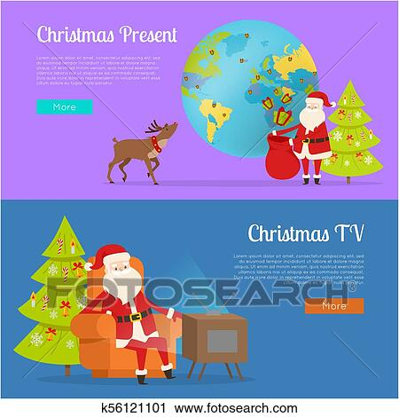 Fernsehprogramm 2019 Weihnachten.Weihnachtsgeschenk Und Fernsehprogramm Mit Weihnachtsmänner Clipart
