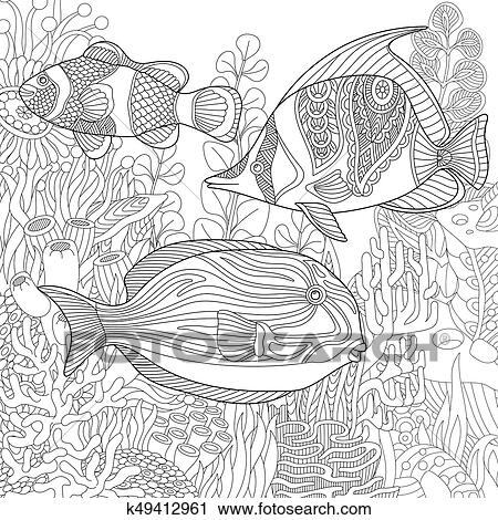 Clipart - zentangle, estilizado, submarino, escena k49412961 ...