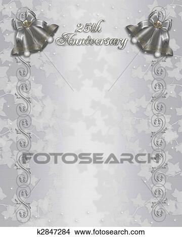 Drawings of 25th wedding anniversary invitation k2847284 search illustration embossed flowers design for 25th wedding anniversary party invitation on satin background with silver bells bows copy space stopboris Gallery