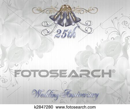 Stock illustrations of 25th wedding anniversary invitation k2847280 illustration embossed flowers design for 25th wedding anniversary party invitation on satin background with silver bells bows copy space stopboris Gallery