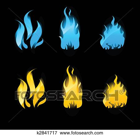 clip art of blue and orange glowing flames on black background