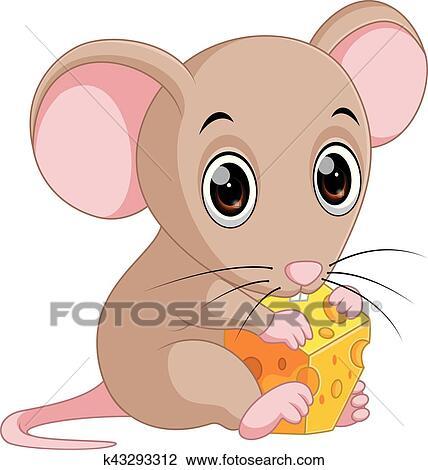 Clipart carino topo cartone animato presa a terra formaggio