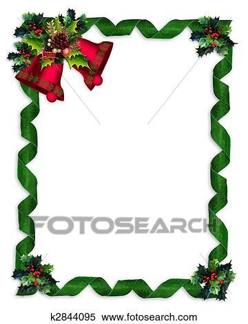 Christmas Boarder.Christmas Border Holly Bells And Ribbons Standartinė Iliustracija