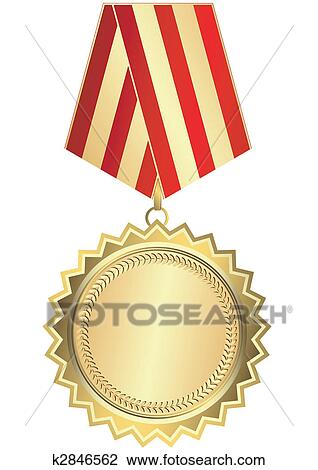 Ribbon - Award - Gold Medal With Red Clipart Picture Transparent PNG