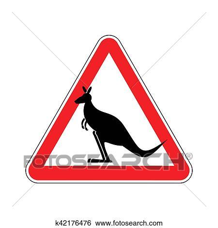 Dessin Panneau Attention clipart - kangourou, avertissement, signe., wallaby, danger