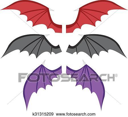 Clip Art Set Pipistrello Ali In Colorare K31315209 Cerca