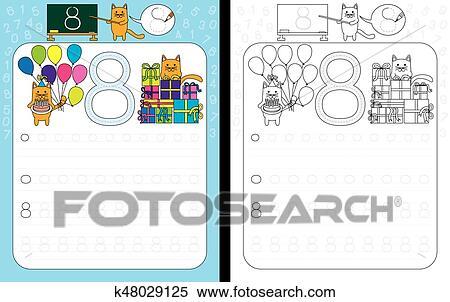 Clipart - zahlen, verfolgen, arbeitsblatt k48029125 - Suche Clip Art ...