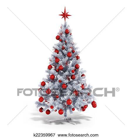 Christmas Tree White Background.3d Beautiful Christmas Tree With Ornaments On White Background Stock Illustration