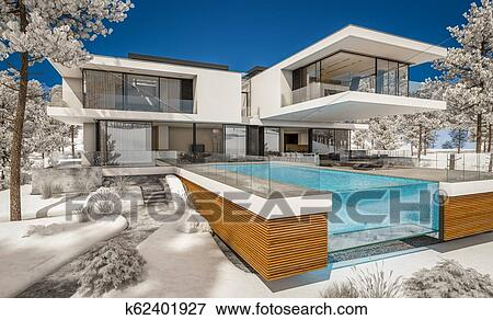 3d Rendering Of Modern House By The River In Winter Stock Illustration K62401927 Fotosearch