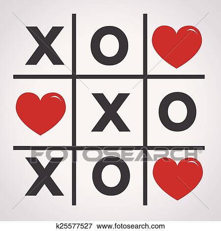Clip Art Of Happy Valentines Day Card Tic Tac Toe Game Cross