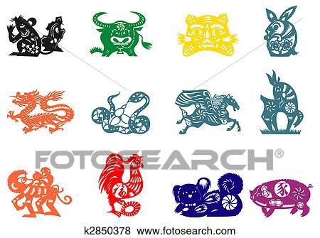 stock illustration chinesischer tierkreis k2850378 suche clip art zeichnungen. Black Bedroom Furniture Sets. Home Design Ideas