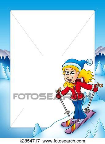 Banque d 39 illustrations cadre dessin anim ski - Ski alpin dessin ...