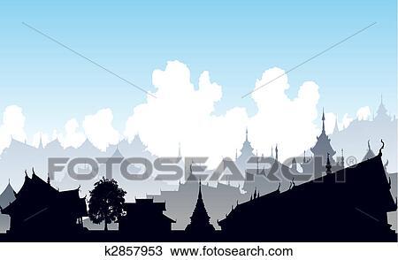 Clipart - oriental, ville k2857953 - Recherchez des Clip Arts, des ...