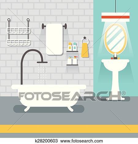 Clipart   Möbel, Textanzeige, In, Zimmer,:, Badezimmer. Fotosearch