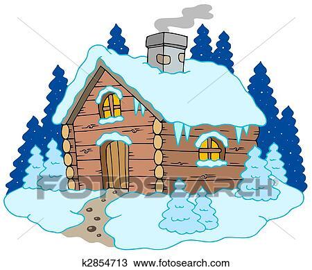 Dessin  Petite Maison Bois Dans Paysage Hiver K
