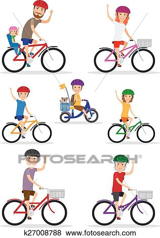 Clip Art Of Sports Family Mom Dad And Kids Ride Bikes K27008788