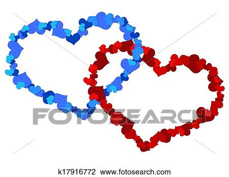 Clip Art Of Two Big Heart Made Up Of Little Hearts K17916772