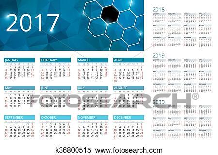 Settimane Calendario 2020.Calendario Per 2017 2018 2019 2020 Settimana Inizi Sunday Semplice Vettore Design Clipart