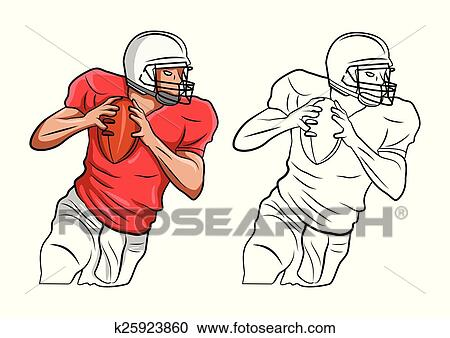 Coloring book FootBall character Clipart