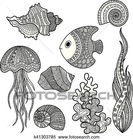 Clipart - conjunto, de, vida marina, pez k41303785 - Buscar Clip Art ...