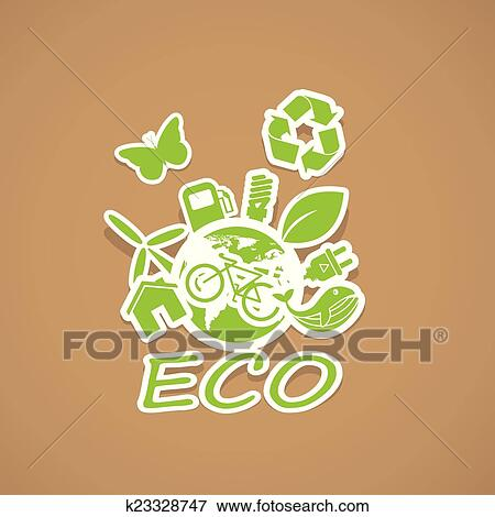 Clip Art Of Eco And Recycling Symbols K23328747 Search Clipart