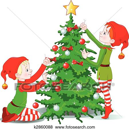 Christmas Tree Art.Elves Decorate A Christmas Tree Clip Art