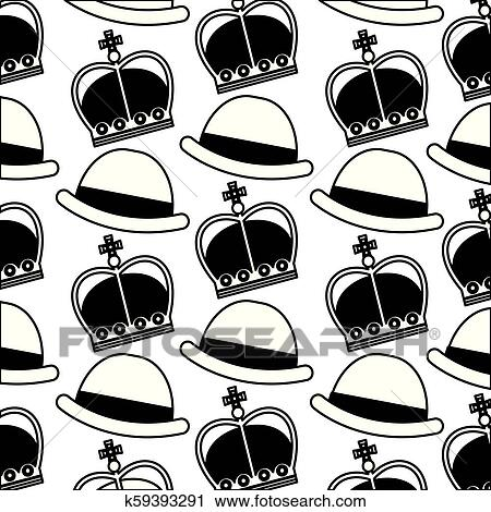 dd98e2a3921e3 English bowler hat and crown royal background vector illustration black and  white