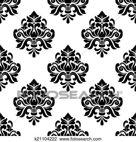 Clipart - floral, seamless, arabesco, patrón k21104222 - Buscar Clip ...