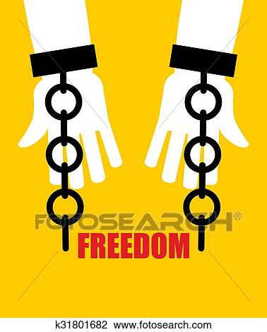 Clipart Of Freedom Broken Fetters Liberation From Slavery