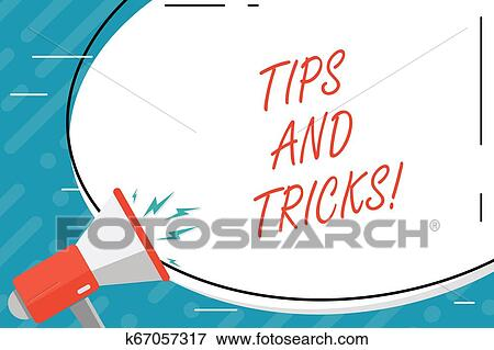 Handwriting text Tips And Tricks  Concept meaning Suggestions to Make  things easier Helpful Advices Solutions  Stock Illustration