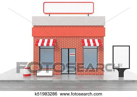 Store with copy space board isolated on white background  Modern shop  buildings, store facades  Exterior market  Exterior facade store building,  3D