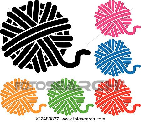 clip art of vector set of yarn ball icons k22480877 search clipart