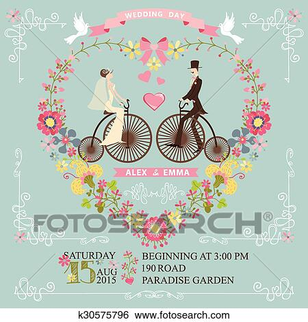 Cute Wedding Invitation With Floral Wreath In Heart Formswirling BorderCute Cartoon Couple Groom And Brideon Retro Bicycle Vignettesribbonspigeons