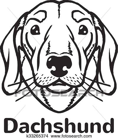 Clipart Of Dachshund Vector Black Icon Logo K33265374