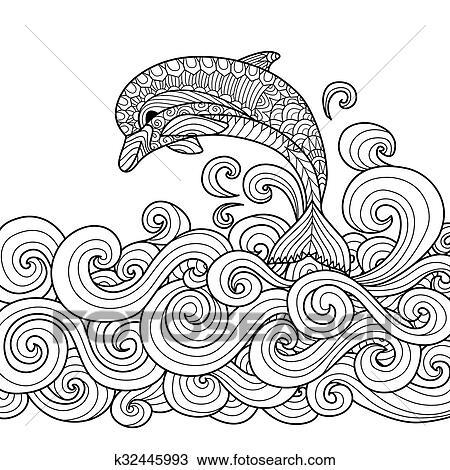 Clipart Delfin Zentangle K32445993 Suche Clip Art Illustration