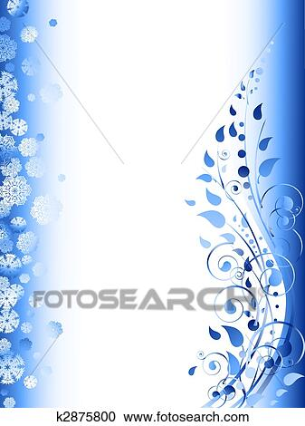 Clipart of floral winter frame with swirls, snowflakes and foliage ...