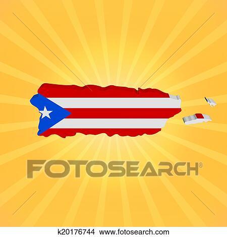dibujos mapa puerto rico bandera en sunburst ilustración