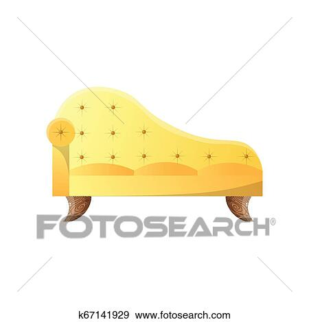 Modern yellow daybed sofa with oak legs template Clip Art ...