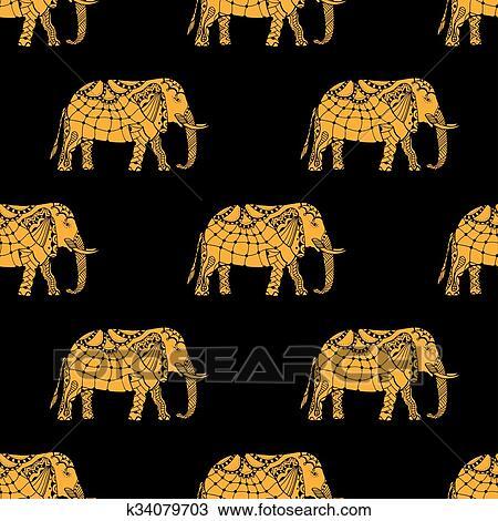Dibujo Patrón Con Elefantes Indios K34079703 Buscar Clip Art