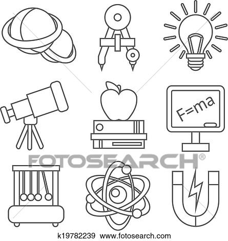 physics science clip icons equipment fotosearch laboratory isolated outline education vector illustration graphic