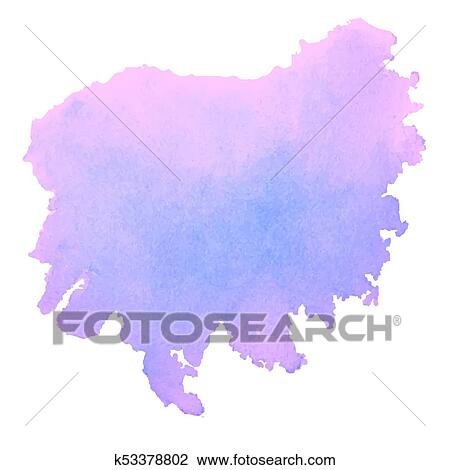 Purple Watercolor Stain Isolated On White Background Clipart