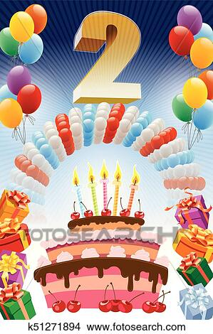 Superb Second Birthday Clipart K51271894 Fotosearch Funny Birthday Cards Online Eattedamsfinfo