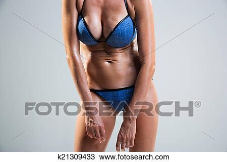 Tummy Cellulite Poor Posture Stock Image K21309433 Fotosearch